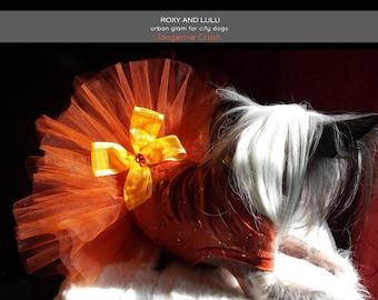 Fashion Tutu Dog Dress - Orange Glitter Spandex