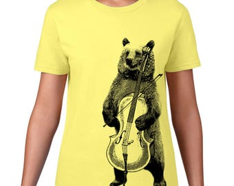 CLEARANCE FINAL SALE, Women's Bear T Shirt, Playing Cello Tshirt, Bear Tshirt, Band, Music, Orchestra, Musical Animal Tee,
