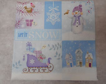On the snow and Christmas themed paper napkin - size 33cm / 33cm