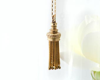Antique Fob Tassel Pendant | Victorian Rolled Gold Tassel Necklace | Unusual Etruscan Revival Foxtail Tassel, Gothic Pendant - 20 Inch Chain
