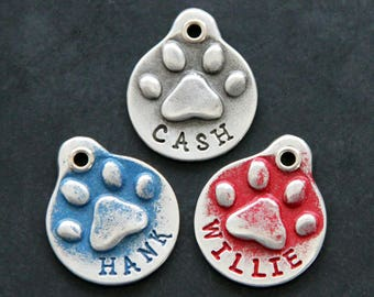Hand Stamped Pet ID Tag - Personalized Pet/Dog Tag - Dog Collar Tag - Custom Dog Tag - Handstamped Pet Tag - Metal Dog Tag - Paw Print
