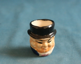 vintage small Ceramic Face Cup 1970's 1960's Collectible very good condition.