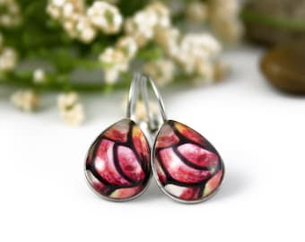 Pink Abstract Earrings - Stained Glass - Pink and Yellow Earrings - Glass Earrings - Art Nouveau Glass Art - Handmade Jewelry - Teardrop