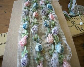 rare antique authentic ribbon work silk ruffled unusual Garland