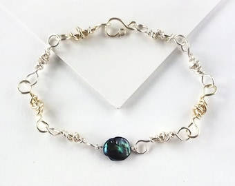 Men's Handmade Link Bracelet With Coin Pearl