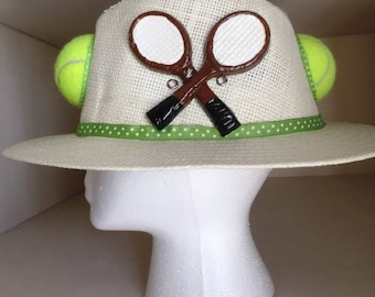 Tennis Hat - wide brim with tennis balls and racquets