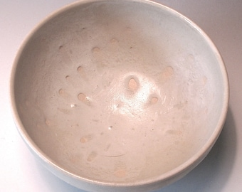 Medium Serving Bowl. Creamy White-on-Whi Glaze. Snow White. Ivory. Off-White. Ecru. Hand Thrown. Artisan. Minimalist. Neutral. Pure/Simple