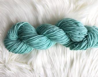 2.1 oz Pale Turquoise Handspun Merino Wool Yarn, 76 yds