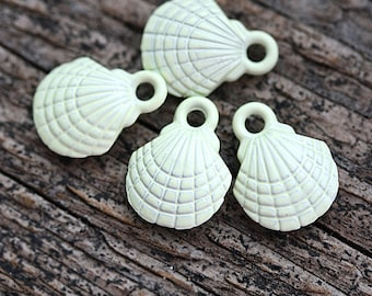 4pc Small Light Sage Green Shell Charms, Painted Metal Casting, Puffy SeaShell beads, nautical, beach - F449