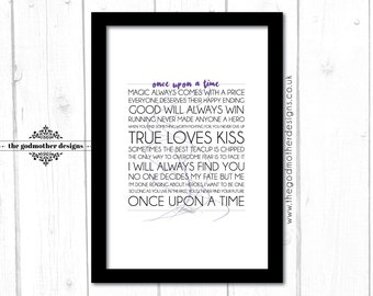 Once Upon a Time - TV Series - Typography -  Quotes & Words - PRINT