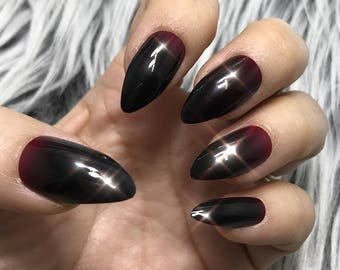 READY TO SHIP | Vamp | Red to Dark Red Ombre Gradation Press on Nails | Full Set | Fake Nails | False Nails | Glue On Nails | The Nailest