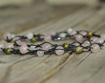 Fertility Necklace, Rose Quartz, Moonstone, Unakite, Knotted Necklace, Fertility Meditation, Crystal Healing, Stone Healing, Childbirth