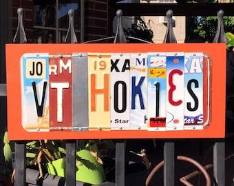 VT HOKIES - Virginia Tech license plate sign, graduation gift