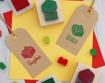 Personalised Children's Building Bricks Rubber Stamp  - Personalized Stamper - Custom Stamp - Gift for Brick Lover - Toy Gift - Block Stamp