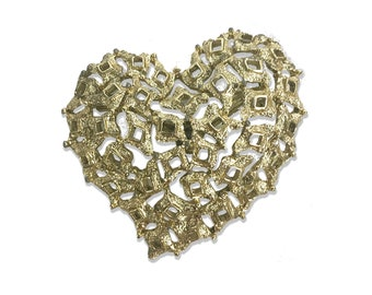 Vintage Gold Heart Brooch from the 1980's