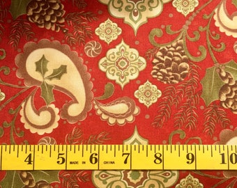 Moda Sandy Gervais Pine Fresh 17771 12 Red Christmas Cotton Fabric By the Yard
