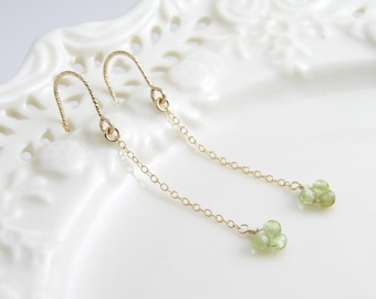 August Birthday, Peridot Earrings ~ Faceted Peridot Long Earrings ~ 14K Gold FIlled Chain ~ Simple Modern Everyday Jewelry by PetitBlue