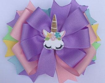 Custom Boutique Unicorn Medium Hair Bow / Clip