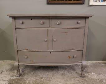 Bow Front Metropolitan Gray Vintage Buffet Dresser Cabinet Claw Feet