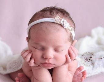 UK SELLER RTS- Soft Vintage lace Beige Tieback/Headband-Handmade Newborn to Sitter Photography Prop