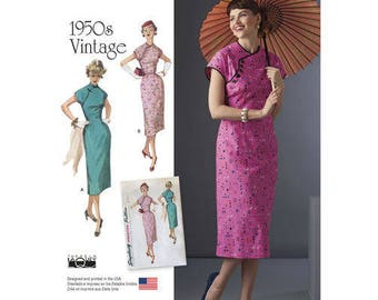 Simplicity Pattern 8244-Asian Inspired Dress Close Fitting Gorgeous 1950's Size 6-14