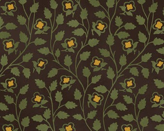 American cotton fabric Tree of Life - Windham Fabric designer Mary Koval - tree of life green and gold - by 50 cm (110 x)
