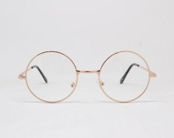 Round gold glasses frames. Clear lens vintage 20s style metal frame glasses. Spectacles, John Lennon, optical, prescription eyeglasses.