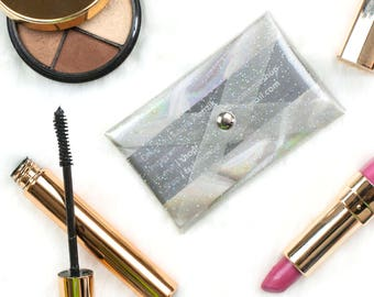 Business Card Holder Clear Card Case Glitter Business Woman Supplies Pocket Credit Card Case