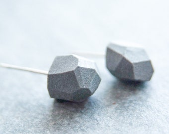 hexagon earrings, earrings for men, earrings men, geometric earrings, minimal earrings, porcelain earrings, black ceramic earrings