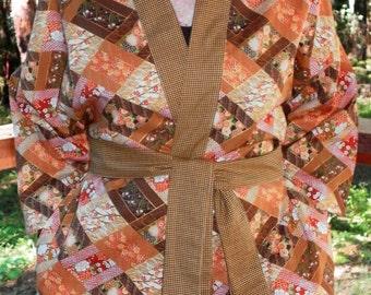 Haori Happi Coat Hip Length Kimono Jacket with pockets IMARI gold Christmas Birthday Mothers Day Fathers Day