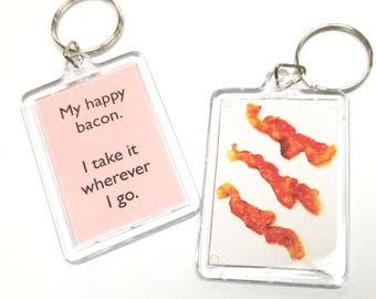 My happy bacon.  I take it wherever I go. Key Chain / Keychain / Bacon Keychain / Bacon Lover Keychain / Happy Bacon Keychain