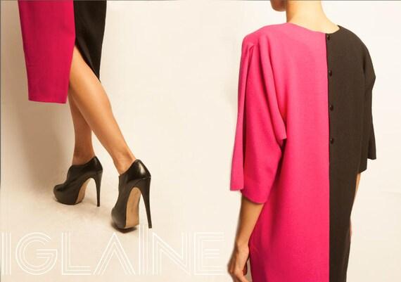 Pierre Cardin 1980's bi-color dolman sleeves day dress