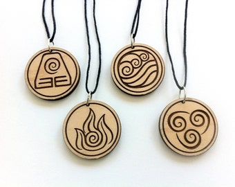 Avatar Wooden Pendant Necklaces, SET of all 5 Designs