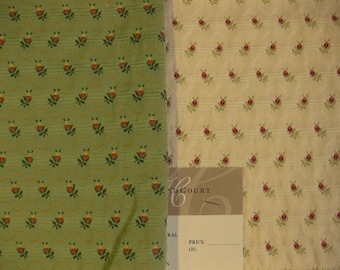 Highland Court Embroidered Floral Ribbon Designer Fabric Sample Lampas Green or Cream: Pick ONE