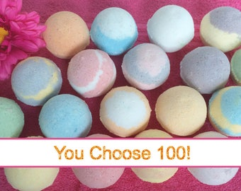100 Bath Bomb Party Favors, FREE SHIPPING, Bulk Deal, Wholesale Bath Fizzy, Wedding, Bridal Shower, Baby Shower, Thank You