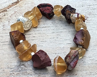 Amber Mookaite Jasper Sterling Silver Cool Chunky Boho Bracelet    High End for Her Under 320 Boutique Wearable Art OOAK Wife Gift