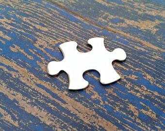"""Aluminum Puzzle Piece  1"""" x 1 1/2"""" Stamping Blanks - Aluminum Blanks - Qty 5"""
