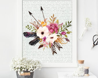 Floral Printable, Floral Art Print, Dictionary Print, Dictionary Art, Wall Print, Home Wall Printable, Spring Printable, Arrow Printable