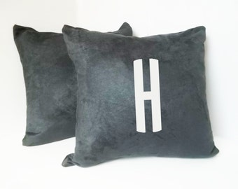 Initial Pillow - Vegan Suede Throw Pillow - Accent Pillow with Zipper - 18 x 18 Throw Pillow - 24x24 Pillow - Lumbar Pillow - Home Decor