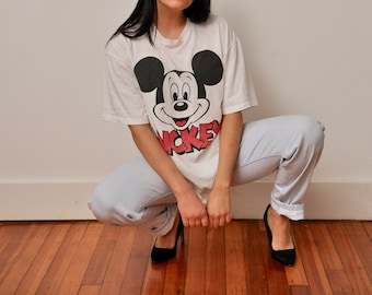 Vintage Mickey Mouse T-Shirt - Vintage Disney - Vintage Mickey Shirt - Mickey Mouse Tee - 1980s Disney - Gift for Disney Nerds - Size Large
