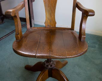 Edwardian, Captains chair, Office chair Antique, English oak, 1910, Dining chair, timber, wooden, steel