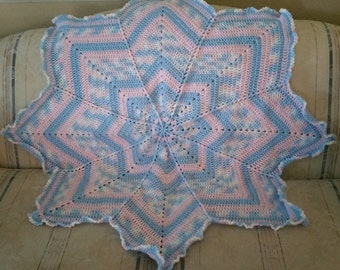 Crochet Baby Blanket, Star Blanket, 8 Point Star Blanket, Baby Girl Blanket, Baby Boy Blanket, Uni-Sex Baby Blanket, Pink and Blue Blanket