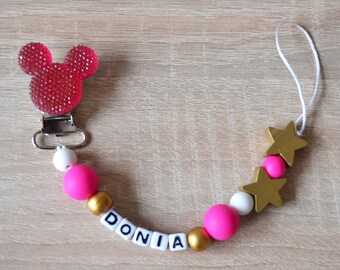 Customizable Minnie rhinestone pacifier clip