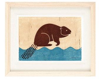 BEAVER Poster Size Linocut Reproduction Art Print: 8 x 10, 9 x 12, 11 x 14, 12 x 16