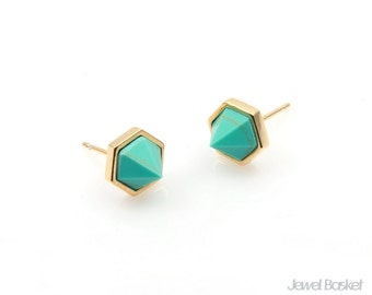 2pcs - Turquoise Hexagon Earrings in Gold / 8.5mm x 6.2mm / STQG101-E