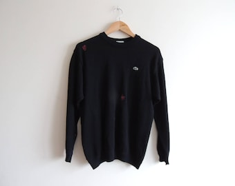 FREE SHIPPING - Upgraded Vintage LACOSTE black knitted pullover with red patches, size 5