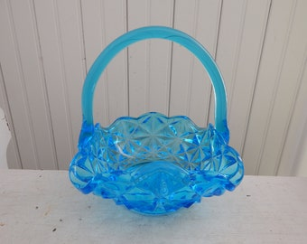 Petite Bright Blue Faceted Glass Basket with Clear Glass Handle and Ruffled Top Edge - Vintage Blue Glass Basket Candy Dish - Easter Basket