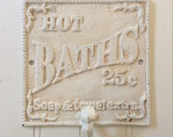HOT BATHS Bathroom Wall Hook / Robe Hook / Towel Hook / Beach Cottage Bath  Decor