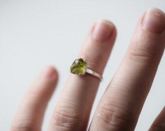 Unqiue Raw Peridot Engagement Ring, Raw Peridot Ring, Size 5 Engagement Ring, Peridot Wedding Band, Rough Gemstone Rustic Ring, Avello
