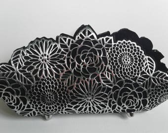 Silver Floral Clutch - Metallic Purse - Silver Floral Purse - Silver Wedding Purse - Laser Cut Handbag - Floral Evening Bag - Wedding Clutch
